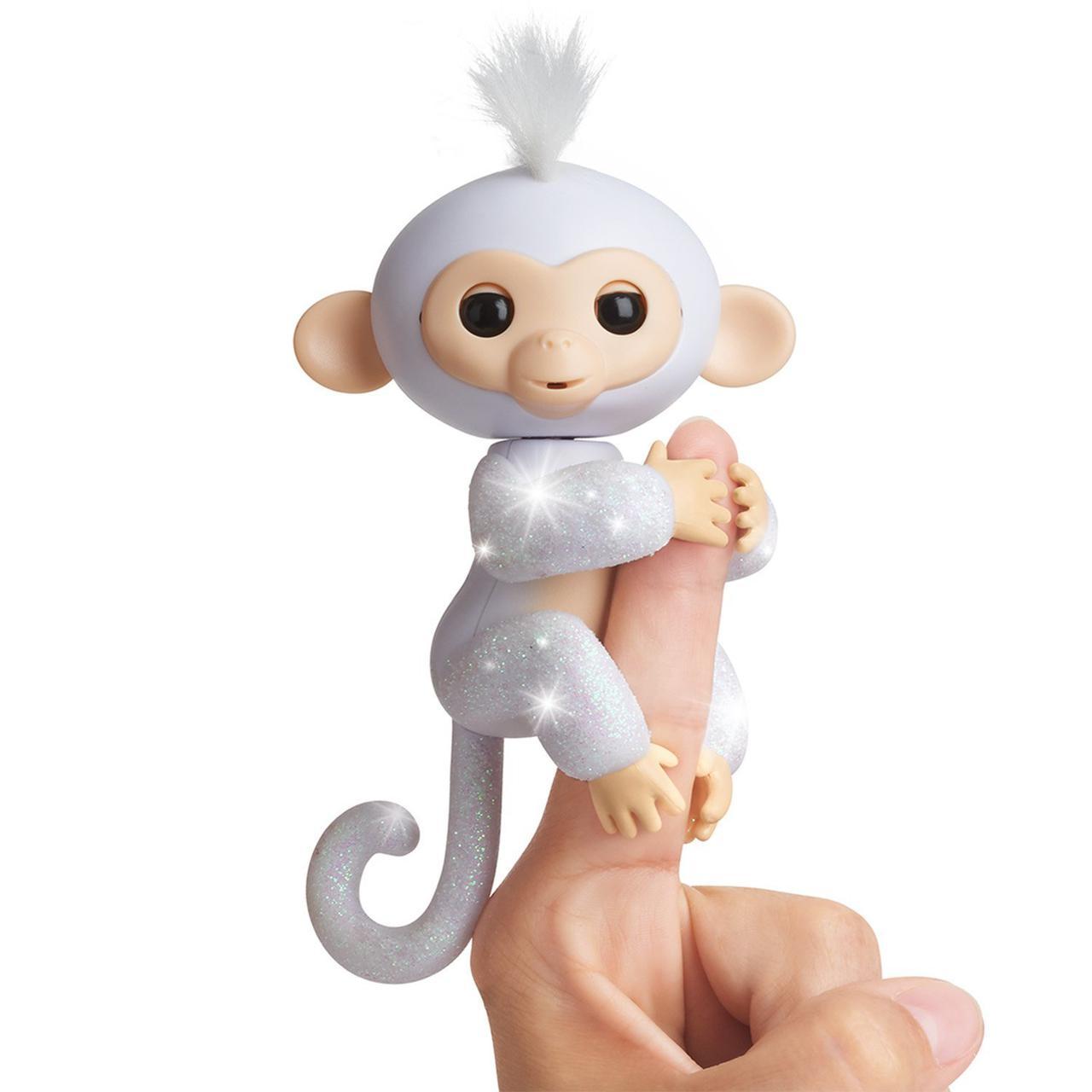 Интерактивная обезьянка на пальчик, блестящая, WowWee Fingerlings Glitter Monkey  Оригинал из США