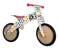 """Беговел 12"""" Kiddy Moto Kurve деревянный, белый в цветной горошек"""
