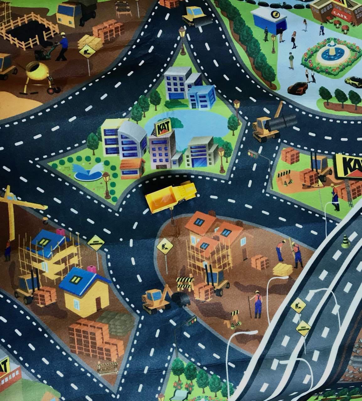 Детский игровой коврик Город с дорогами + машинка