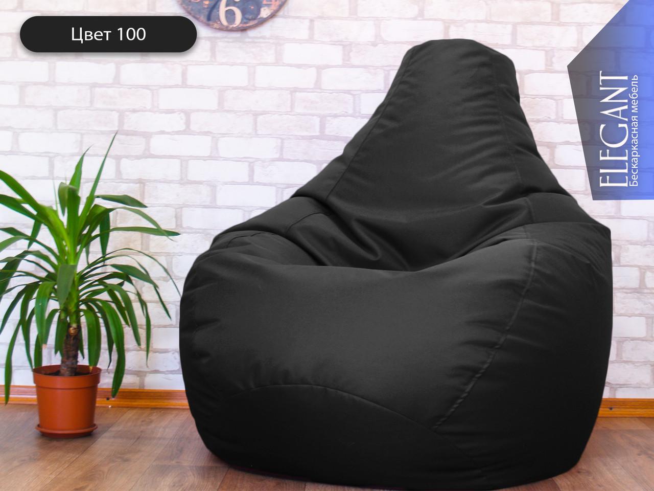 Кресло мешок, бескаркасное кресло Груша ХЛ, зеленое ХХL130*90 см, черный 100