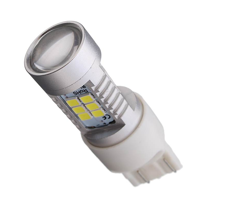 Автолампа светодиодная LED, T20, W21/5W, 7443, 12В, 21Вт, SMD 3535, Белая