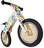 """Беговел 12"""" Kiddy Moto Kurve деревянный, белый с разноцветными кляксами"""