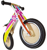 """Беговел 12"""" Kiddy Moto Kurve деревянный, британский флаг в цветах радуги"""