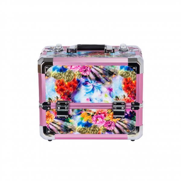"""Кейс алюминиевый для косметики """"Розовые цветы"""" на 4 полки  А52 - A52-FL- Rose"""