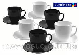 Чайный сервиз на 6 персон из 12 предметов Luminarc Carine Black&White D2371