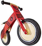 """Беговел 12"""" Kiddy Moto Kurve деревянный, с рисунком протектора, красный"""