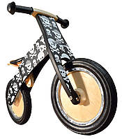 """Беговел 12"""" Kiddy Moto Kurve деревянный, чёрный с черепами"""