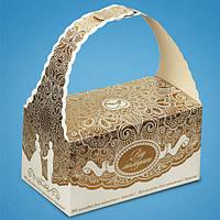 """Коробочка """"Від молодят"""" для свадебного каравая или сладостей с золотым орнаментом"""