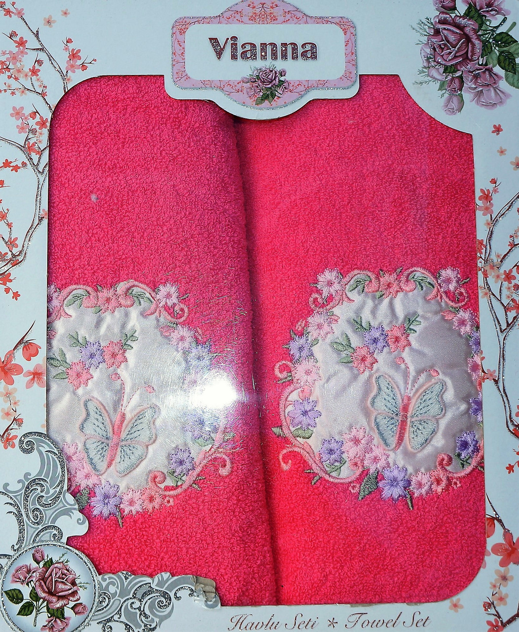 """Подарочный набор махровых полотенец 3D """"Бабочка"""" Vianna, Турция, малиновый цвет"""