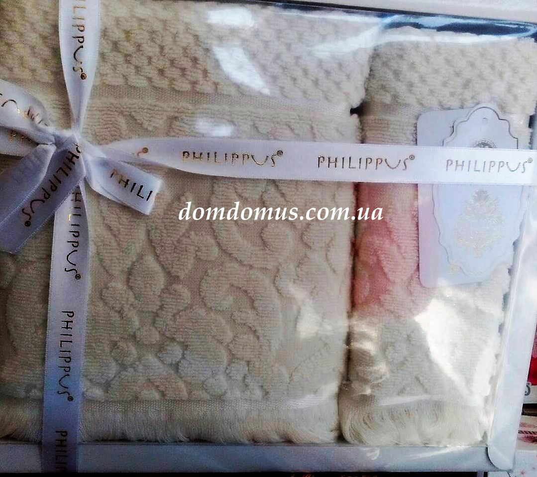 Подарочный набор полотенец ( баня+лицо) Жаккард Philippus, Турция 2531