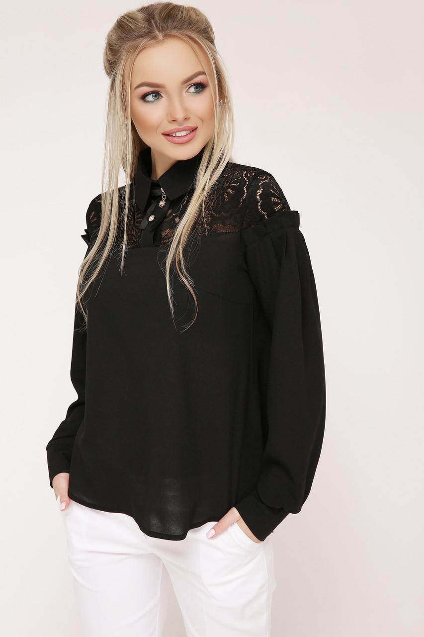 Женская свободная блузка черного цвета Джустина д/р