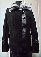 Куртка замшевая косуха+шиншилла-съёмная длина 65см на синтепоне 44р-46р