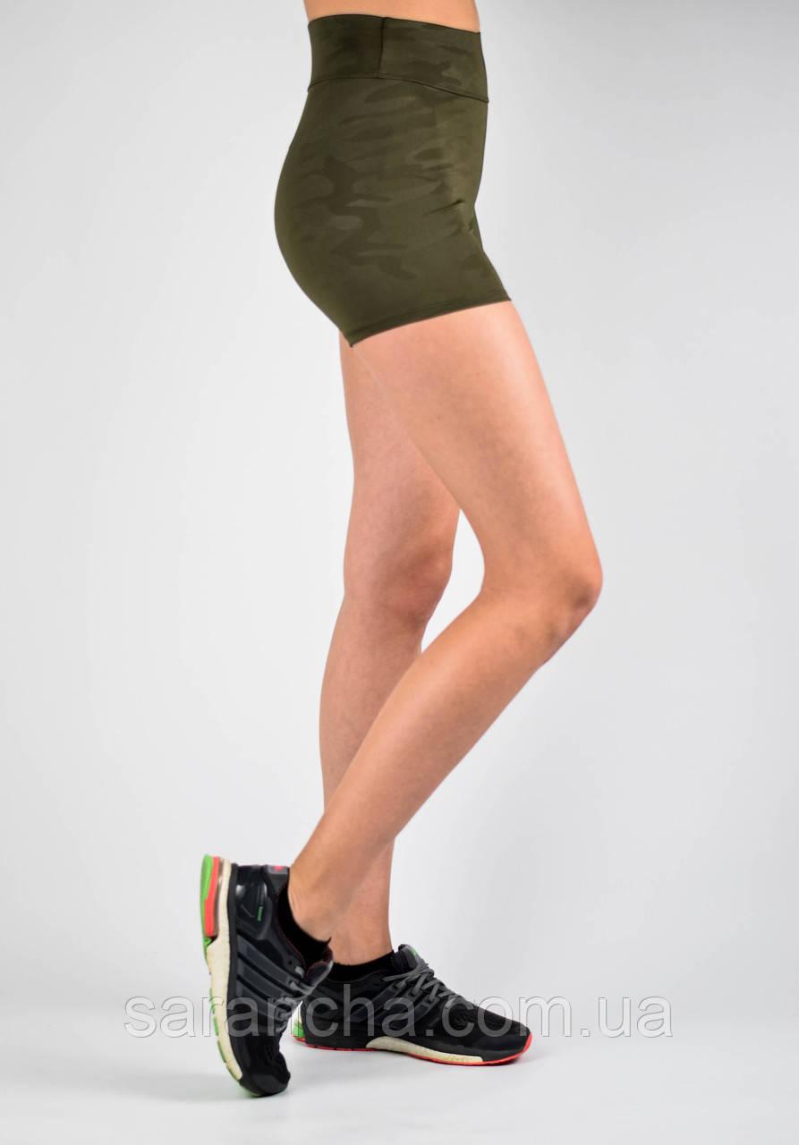 Шорты женские спортивные камуфляжный принт хаки
