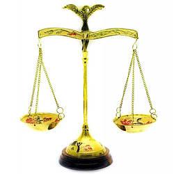Весы бронзовые на деревянной подставке (22 см) ( 18345)