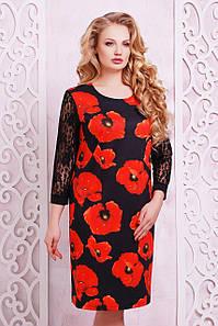 Женское трикотажное платье батал с цветами Гардена-2Б д/р XL