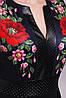 Женское черное платье с рукавами из шифона и принтом с маками Лусена д/р, фото 3
