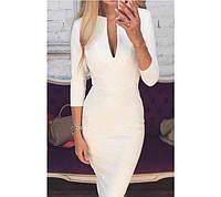 """Изящное женское миди платье по фигуре с вырезом на декольте, рукав 3/4 """"Prime"""" белое"""