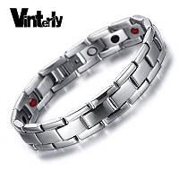 Магнитный браслет лечебный с германием Vinterly silver, фото 1
