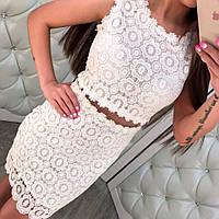 Красивое женское платье гипюр только белое