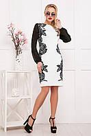 ec4473fa0ff Женское черно-белое платье с шифоновыми рукавами Розы-кружево Лерина д р