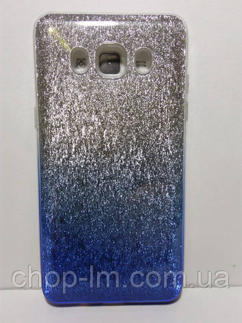 Чехол-накладка для Samsung J500H Galaxy J5 (блестки: синий + серебро), фото 2