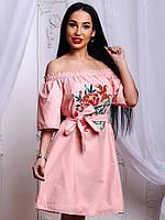 Красивое котоновое платье с вышивкой в расцветках, арт-654 db-1804.058