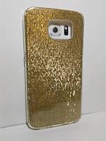 Чехол-накладка для Samsung G920 Galaxy s6 (блестки: золотистый)