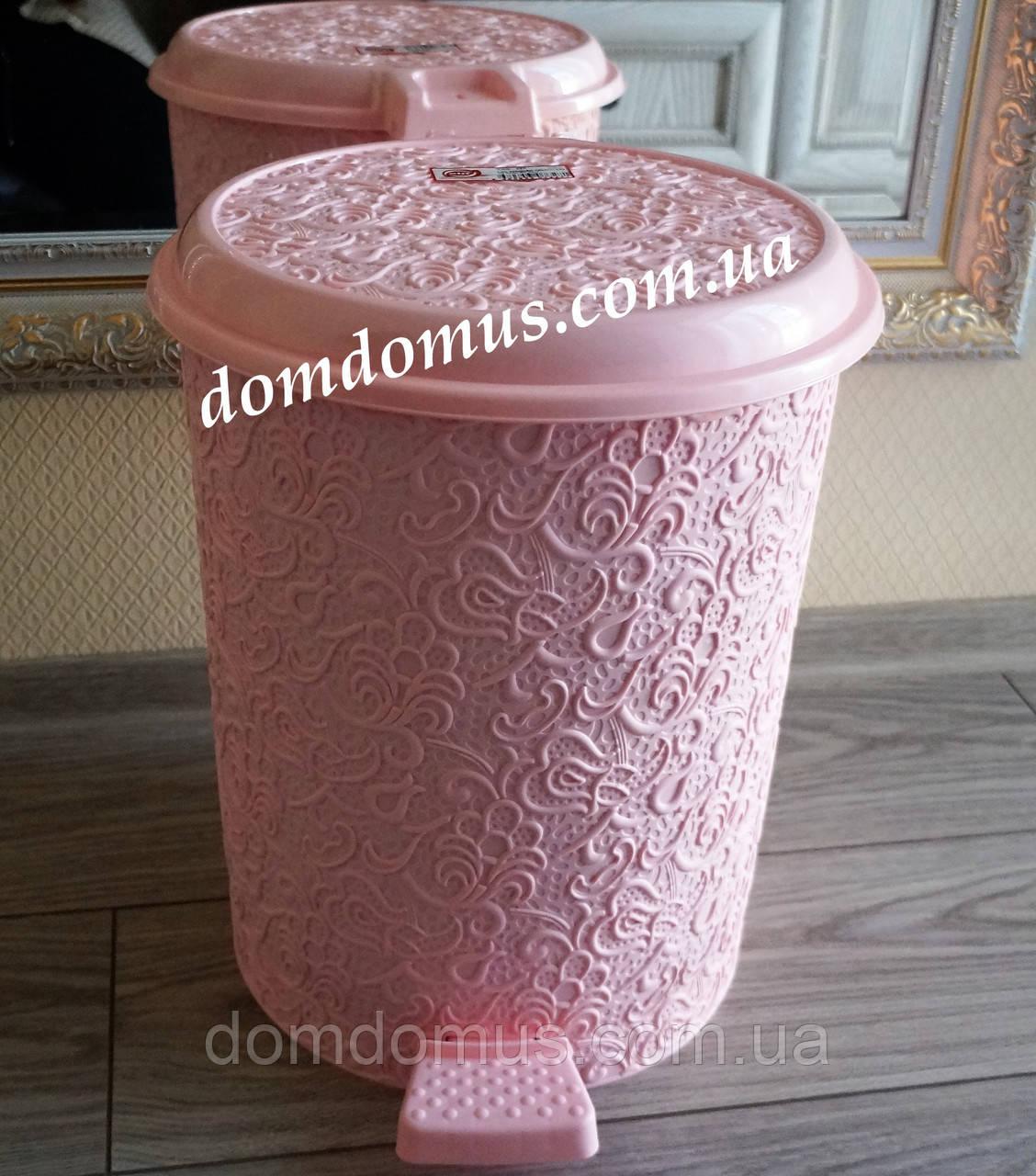 """Ведро с педалью """"Ажур"""" 10 л Elif Plastik, Турция, розовое"""