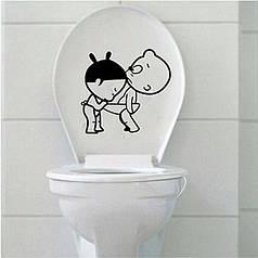 """Наклейка на стену, виниловые наклейки """"Наклейка для туалета """"Любопытная"""""""" 24*24см"""