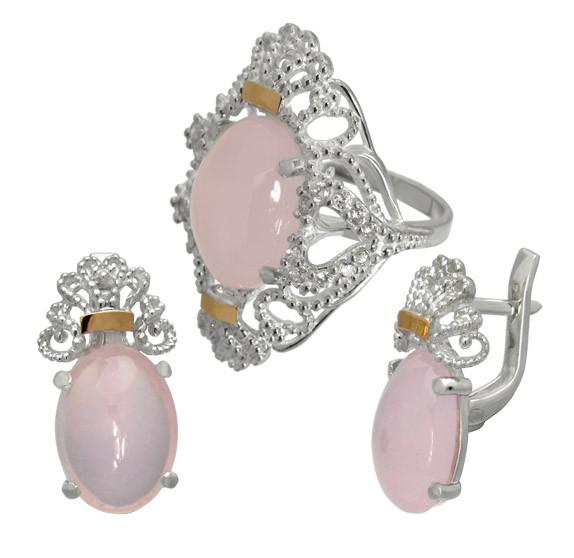"""Серебряный набор (серьги и кольцо) с золотыми накладками """"Джамала"""" розовый кварц, фото 1"""