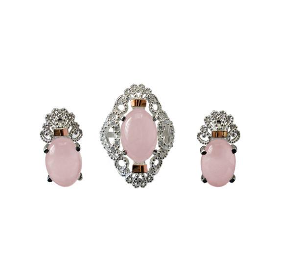 """Серебряный набор (серьги и кольцо) с золотыми накладками """"Джамала"""" розовый кварц"""
