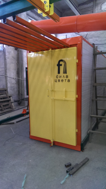Монтаж оранжевого покрасочного участка для алюминиевых профилей 4