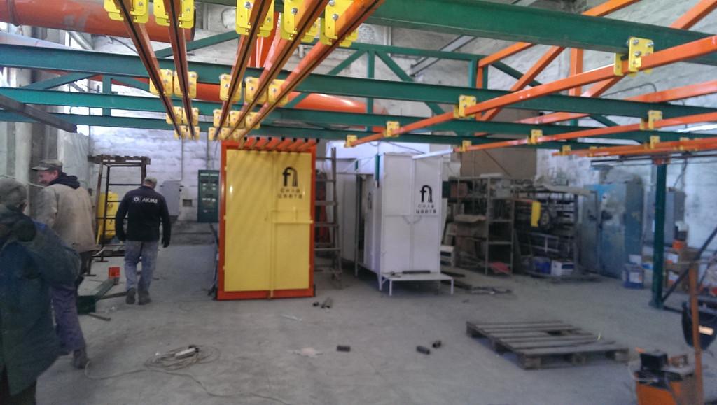 Монтаж оранжевого покрасочного участка для алюминиевых профилей 5