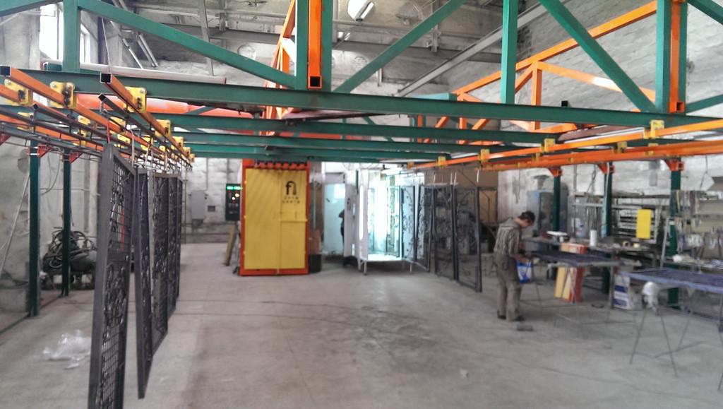 Монтаж оранжевого покрасочного участка для алюминиевых профилей 6