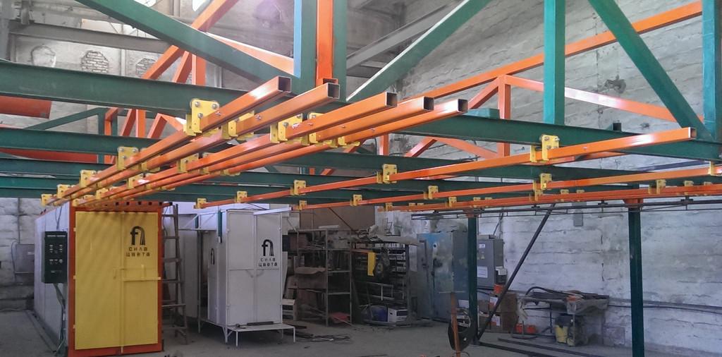 Монтаж оранжевого покрасочного участка для алюминиевых профилей 10