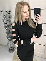 """Дизайнерское женское платье миди по фигуре, рукава с широкими разрезами """"Mixton"""" черное"""