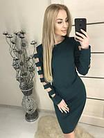 """Изысканное женское полуприталенное платье по колено, длинные рукава с разрезами """"Mixton"""" темно-зеленое"""