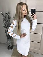 """Модное женское облегающее платье миди, длинные рукава с разрезами """"Mixton"""" белое"""