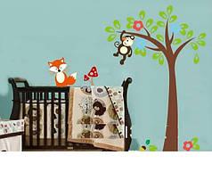 """Наклейка на стену, виниловые наклейки, украшения стены наклейки  """"обезьяна на дереве и лиса рядом"""" (лист60*90)"""