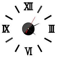 Часы настенные 3-d черные римские цифры