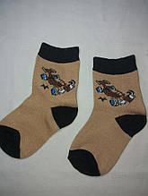 Носки для мальчиков коричневые с машинкой - по стельке 12-14см, 80% коттон, 20% полиэстер