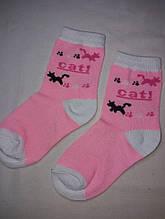 Носки детские для девочек розовые с рисунком - по стельке 14-16см, 80% коттон, 20% полиэстер