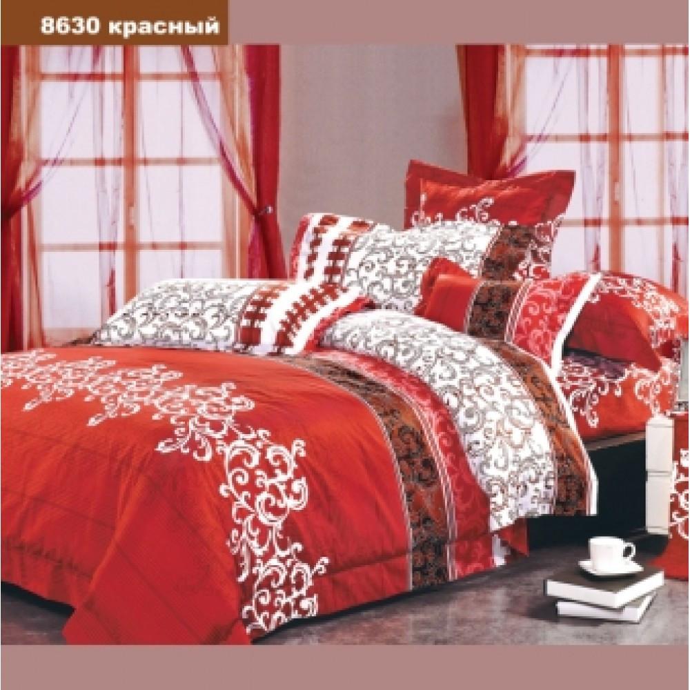 8630 красный Полуторное постельное белье ранфорс Viluta