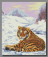 Схема для вышивки бисером Тигр на снегу