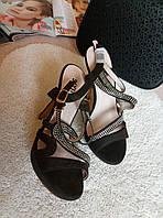 Женские босоножки темно-коричневые (шоколад) эко-замш (велюр), босоножки на высоком каблуке,босоножки недорого