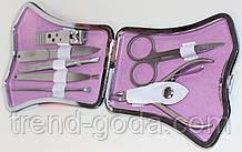 Маникюрный набор перламутровый, 7 предметов, голубой с розовым