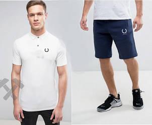Мужской комплект поло + шорты Fred Perry белого и синего цвета