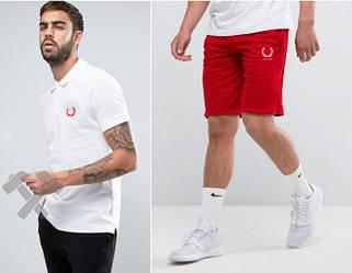 Мужской комплект поло + шорты Fred Perry белого и красного цвета