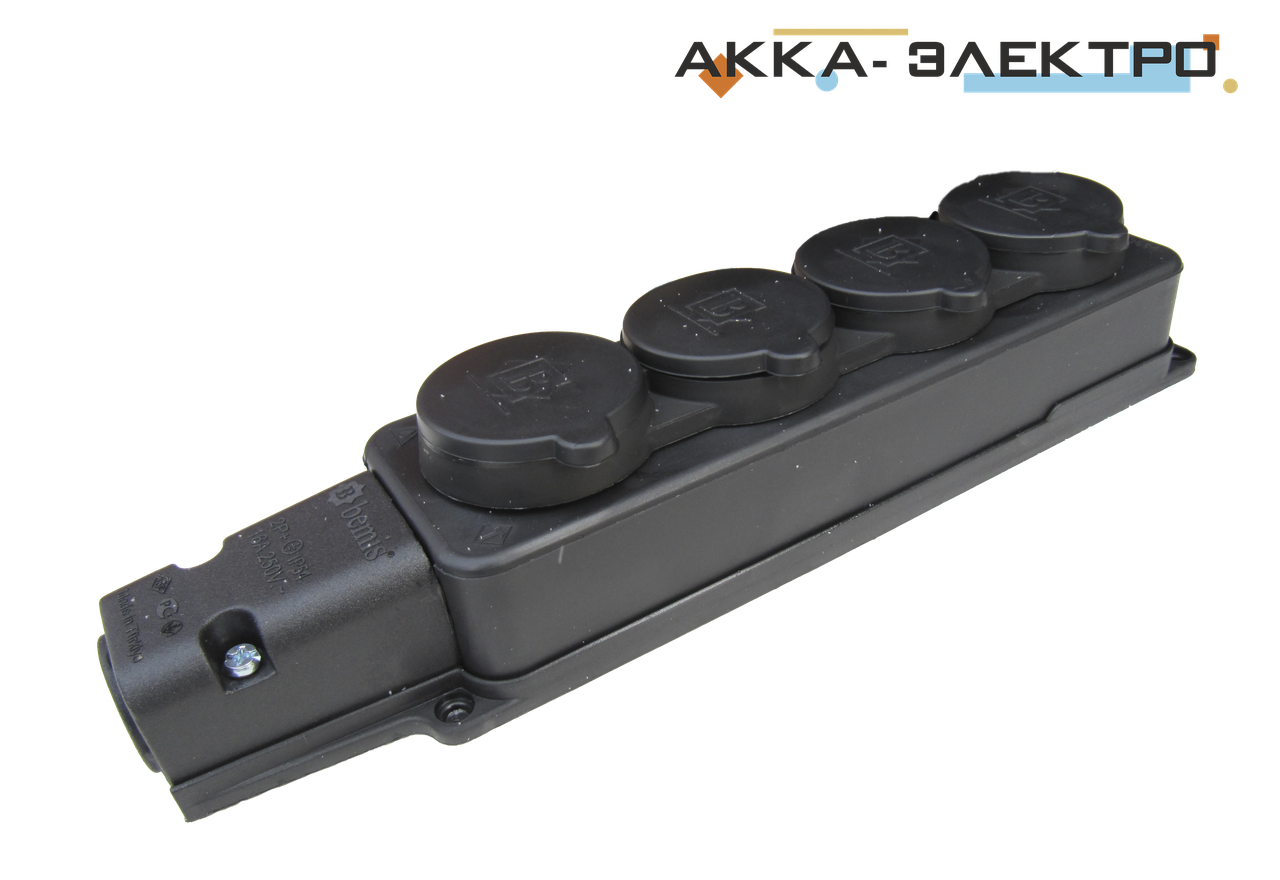 Колодка 4-я каучукова 220В 16А BEMIS (BK1-1402-3614)