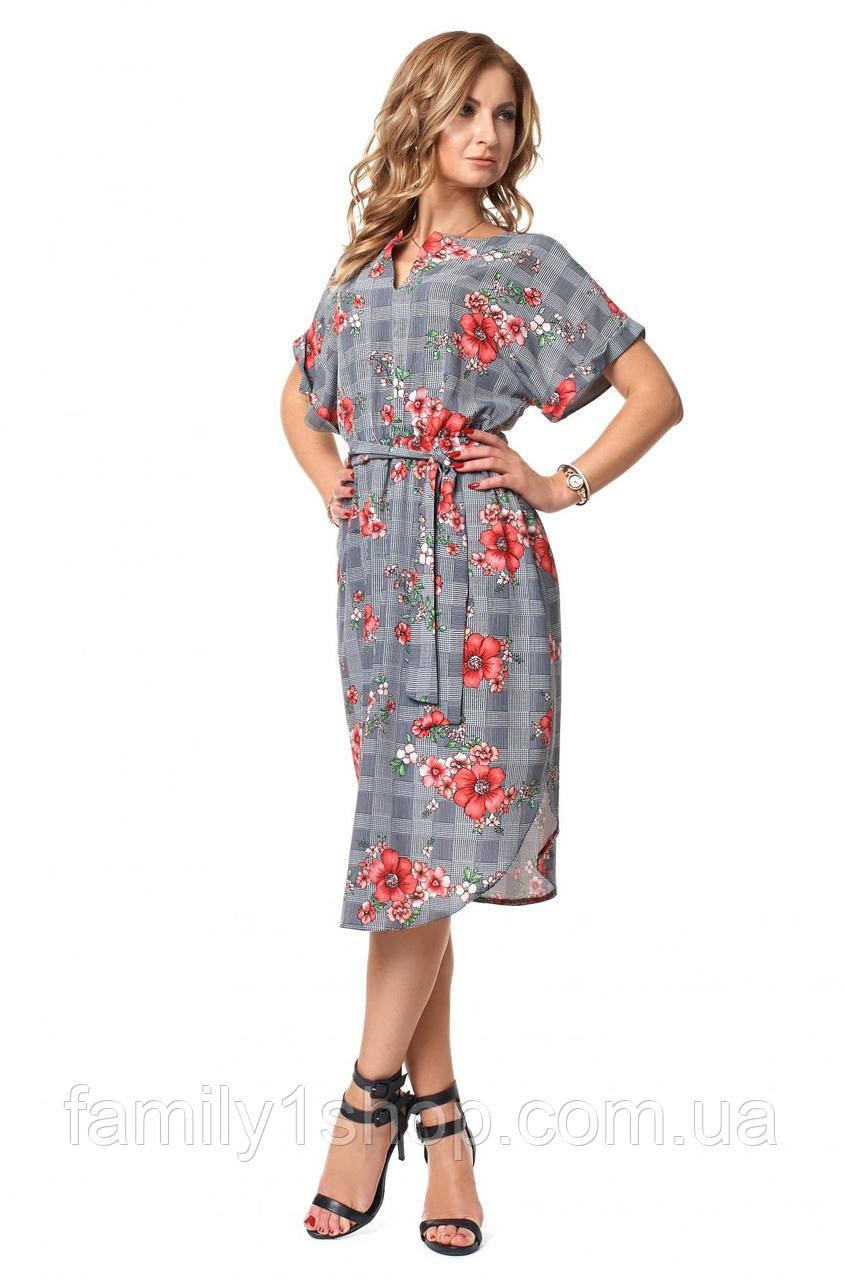30c11617cd5 Летнее легкое платье прямого кроя с поясом.  продажа